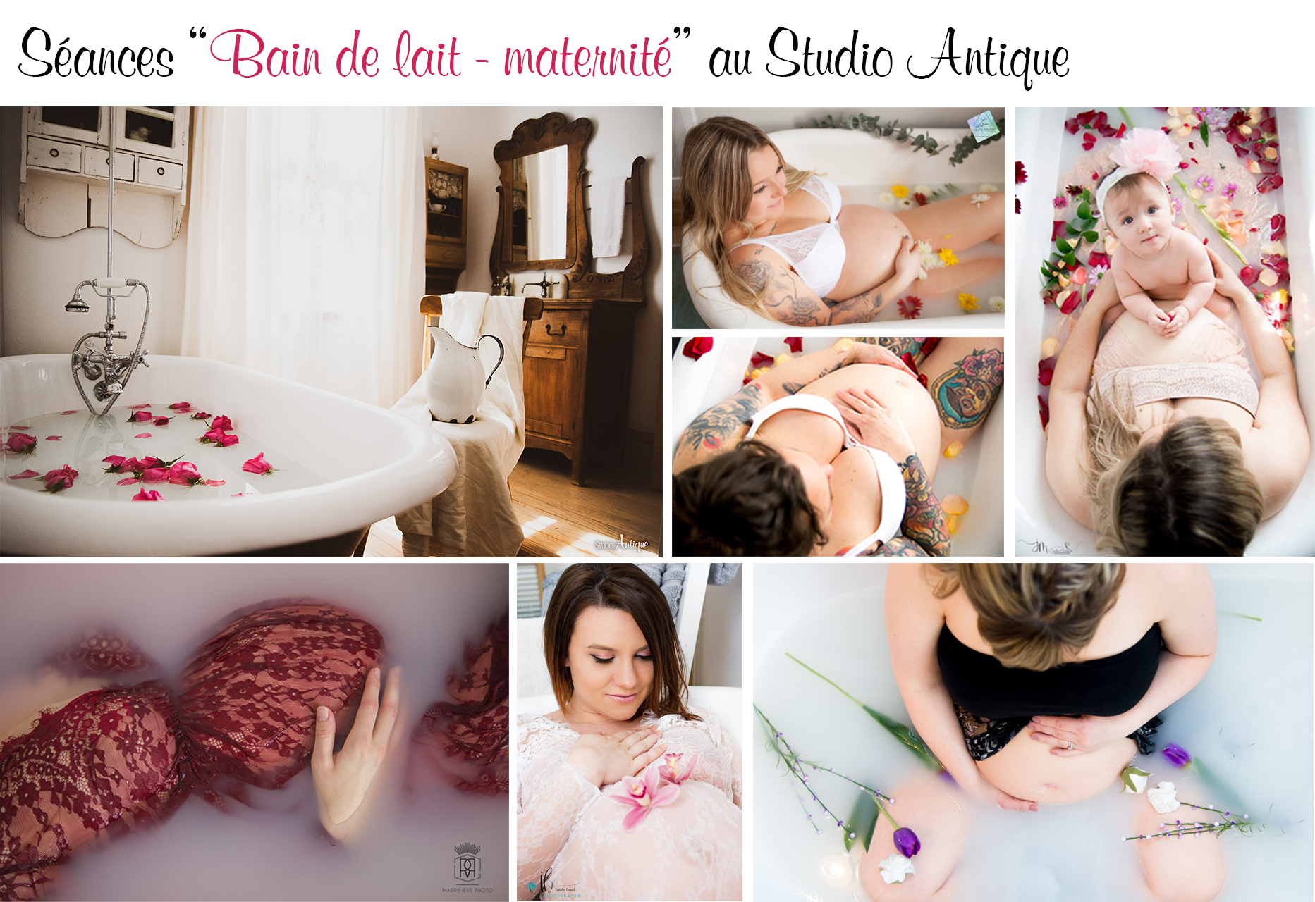 Moodboard Bain de lait maternité - Studio Antique